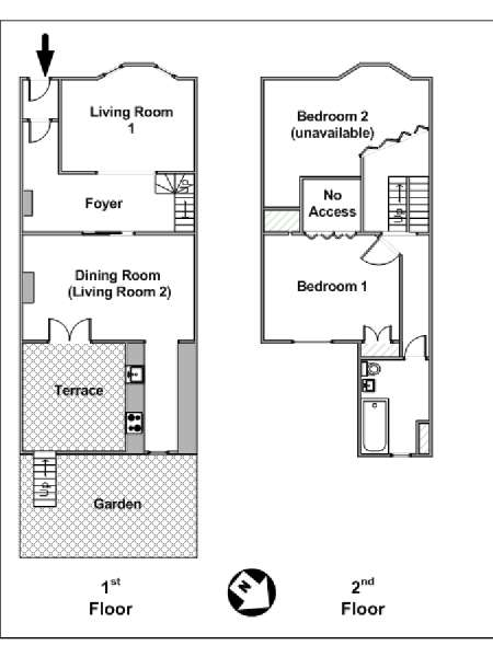 New York T3 - Duplex appartement bed breakfast - plan schématique  (NY-6359)