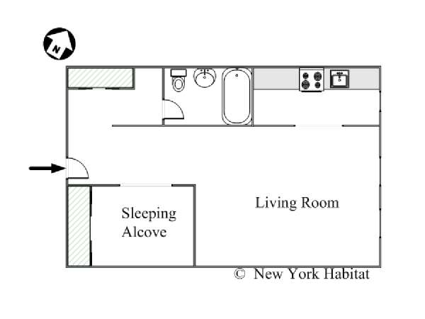 New York Alcove Studio Apartment   Apartment Layout (NY 6441)