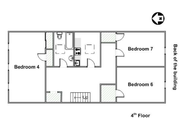 New York 7 Bedroom roommate share apartment - apartment layout 2 (NY-6777)