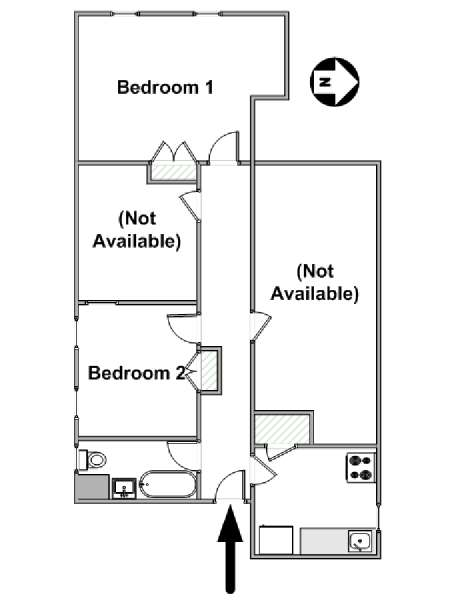 New York 2 Bedroom roommate share apartment - apartment layout  (NY-6868)