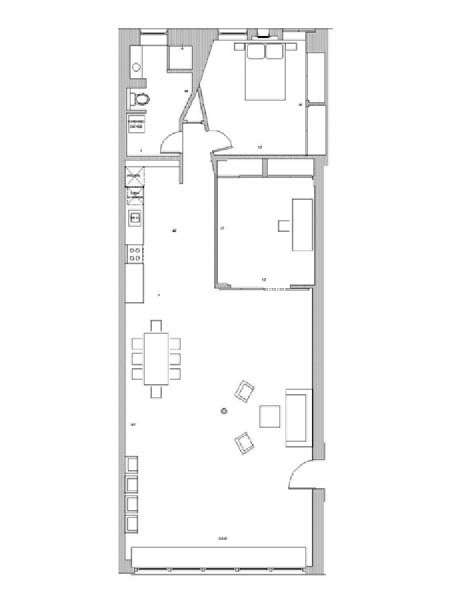 New York T2 - Loft logement location appartement - plan schématique  (NY-7245)