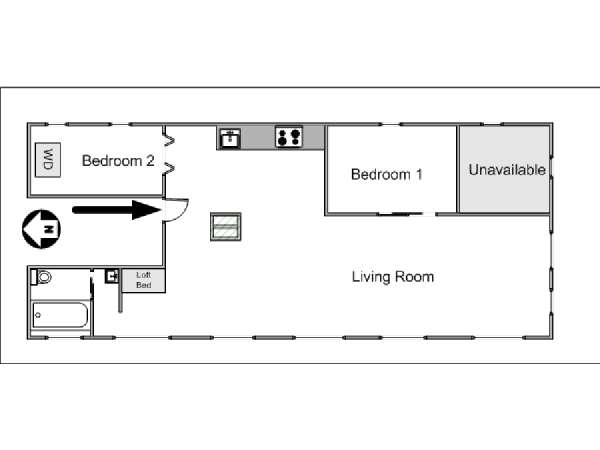 New York 2 Bedroom - Loft apartment - apartment layout  (NY-8091)