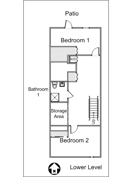 New York 3 Bedroom - Duplex roommate share apartment - apartment layout 1 (NY-8114)
