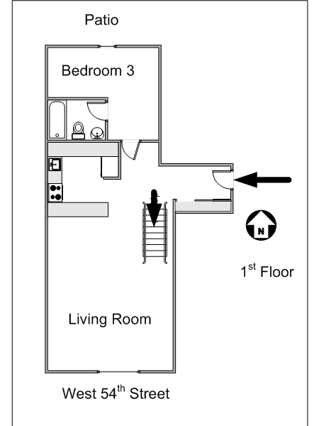 New York 3 Bedroom - Duplex roommate share apartment - apartment layout 2 (NY-8114)