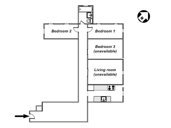 New York 3 Bedroom roommate share apartment - apartment layout  (NY-8264)