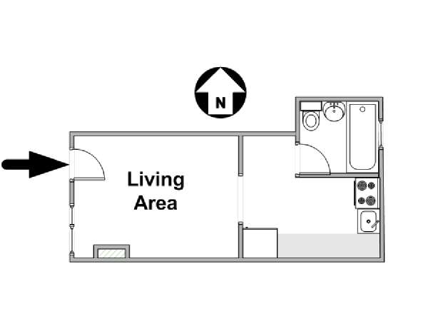 New York Studio Apartment   Apartment Layout (NY 8590)
