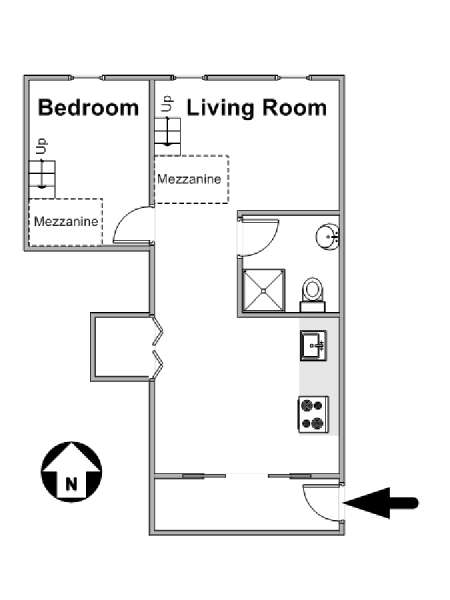 New York 1 Bedroom - Loft apartment - apartment layout  (NY-8901)