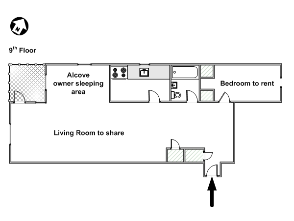 New York 1 Bedroom roommate share apartment - apartment layout  (NY-9074)