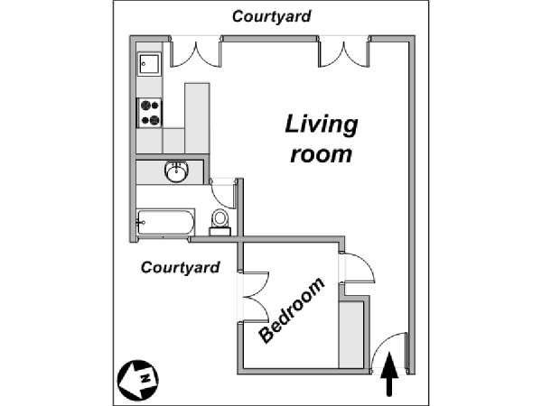 Paris 1 Bedroom accommodation - apartment layout  (PA-910)
