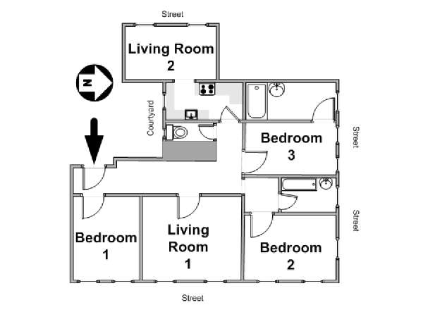 Paris 3 Bedroom accommodation - apartment layout  (PA-1371)