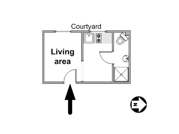 Paris Alcove Studio apartment - apartment layout  (PA-1373)