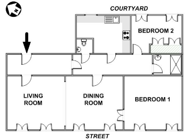 Paris 2 Bedroom accommodation - apartment layout  (PA-2278)
