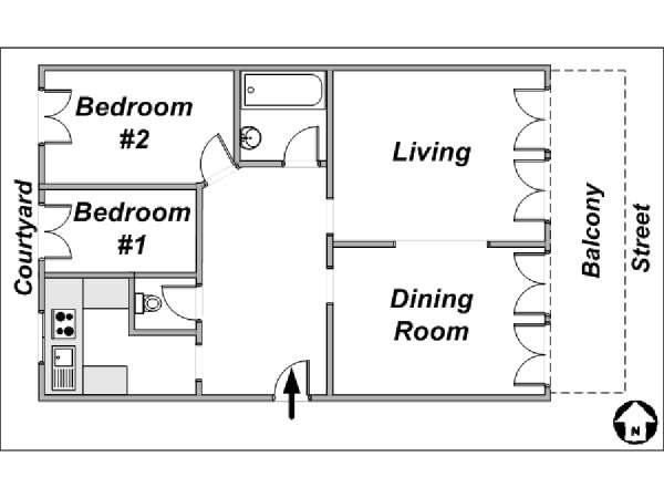Paris T3 logement location appartement - plan schématique  (PA-2314)