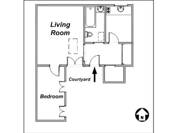 Paris 1 Bedroom accommodation - apartment layout  (PA-2333)