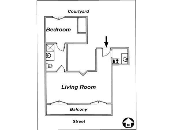 Paris 1 Bedroom accommodation - apartment layout  (PA-2534)