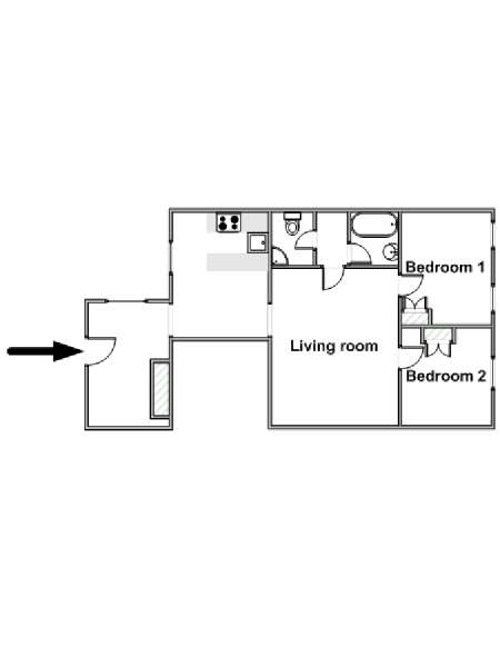 Paris 2 Bedroom apartment - apartment layout  (PA-2624)