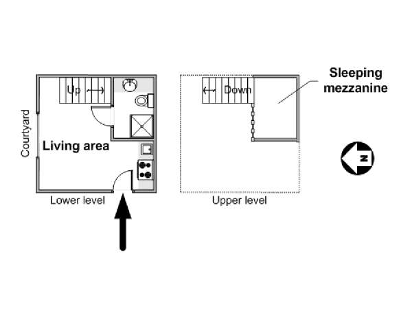 Paris Studio accommodation - apartment layout  (PA-2640)