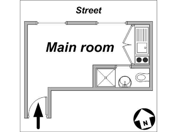 Paris Studio accommodation - apartment layout  (PA-2650)