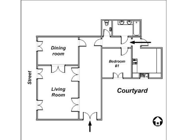 Paris 1 Bedroom apartment - apartment layout  (PA-2657)