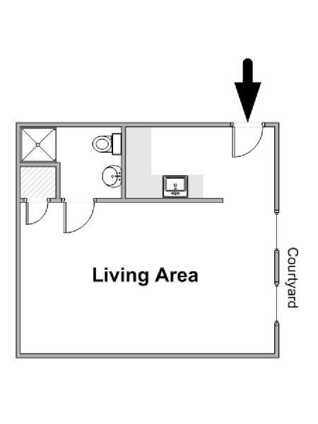 Paris Studio apartment - apartment layout  (PA-2659)