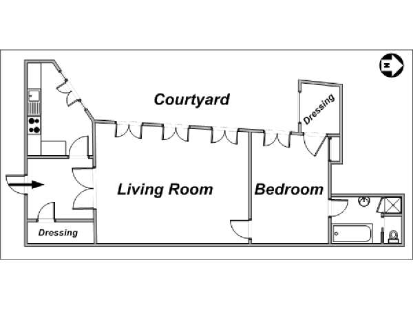 Paris 1 Bedroom accommodation - apartment layout  (PA-2669)