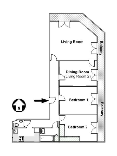 Paris T3 appartement location vacances - plan schématique  (PA-2844)