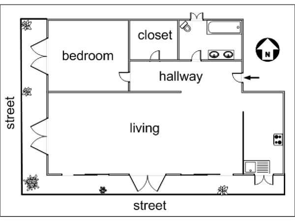 Paris 1 Bedroom apartment - apartment layout  (PA-2966)