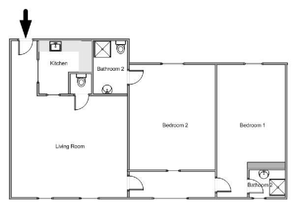 Paris 2 Bedroom accommodation - apartment layout  (PA-2989)
