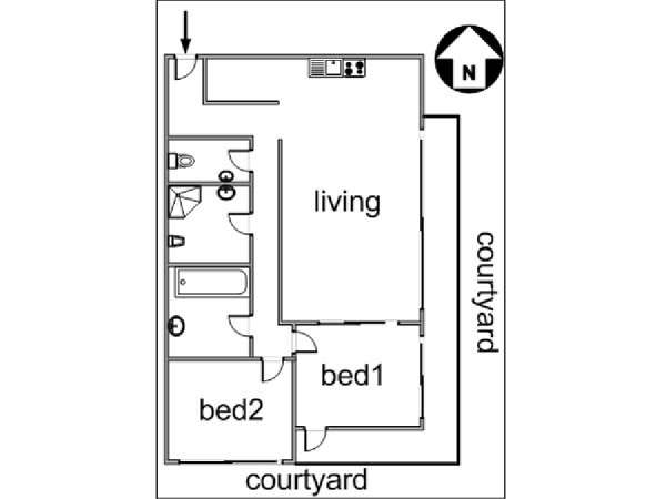 Paris 2 Bedroom accommodation - apartment layout  (PA-3007)