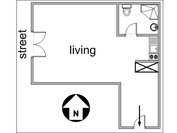 Paris Studio apartment - apartment layout  (PA-3012)
