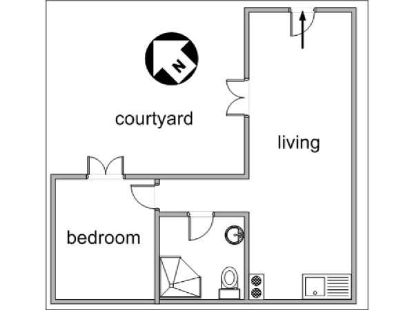 Paris 1 Bedroom accommodation - apartment layout  (PA-3013)
