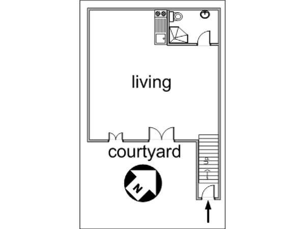 Paris Studio accommodation - apartment layout  (PA-3030)
