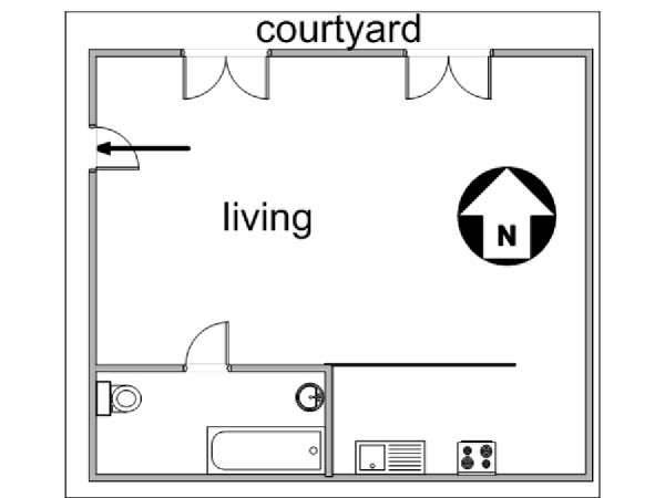 Paris Studio apartment - apartment layout  (PA-3038)
