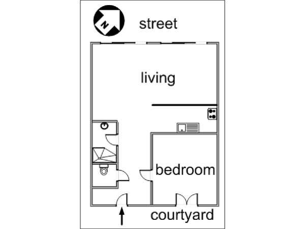 Paris 1 Bedroom accommodation - apartment layout  (PA-3048)
