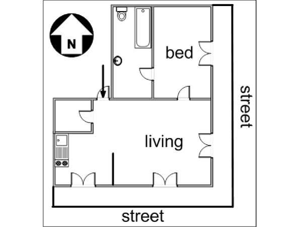 Paris 1 Bedroom accommodation - apartment layout  (PA-3055)