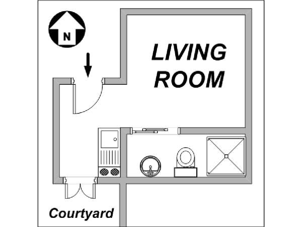 Paris Studio accommodation - apartment layout  (PA-3059)