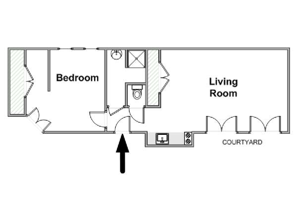 Paris 1 Bedroom accommodation - apartment layout  (PA-3130)