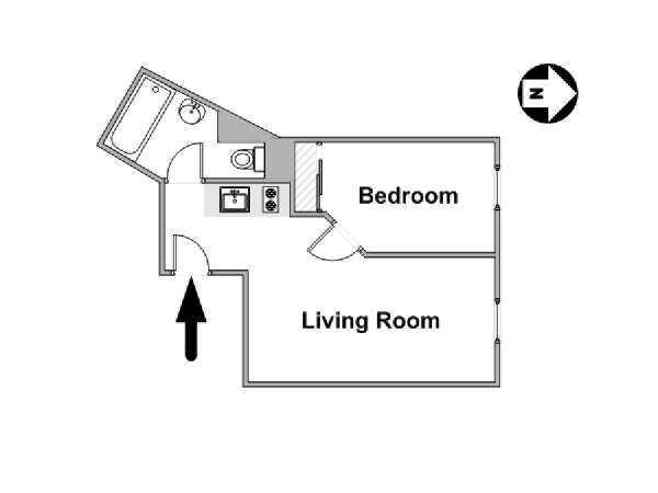 Paris 1 Bedroom apartment - apartment layout  (PA-3170)
