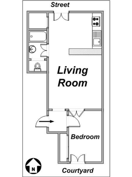 Paris 1 Bedroom accommodation - apartment layout  (PA-3198)