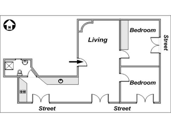 Paris 2 Bedroom apartment - apartment layout  (PA-3293)
