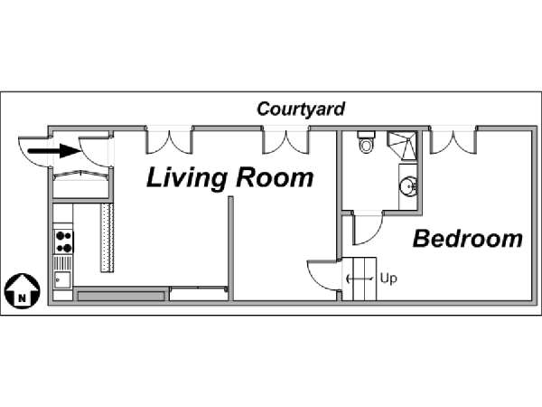 Paris 1 Bedroom apartment - apartment layout  (PA-3305)