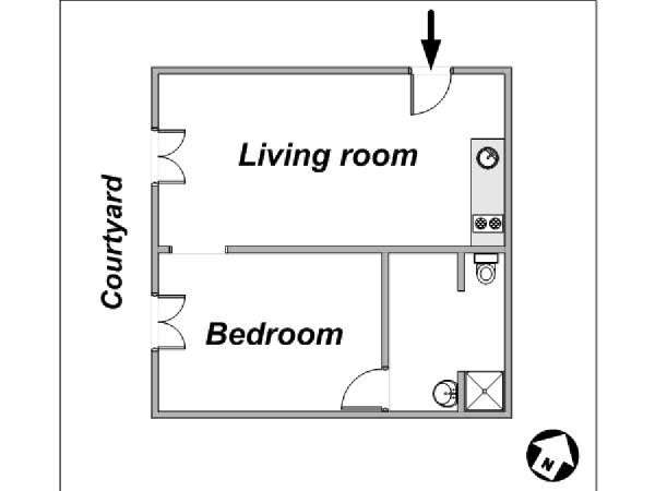 Paris T2 logement location appartement - plan schématique  (PA-3331)