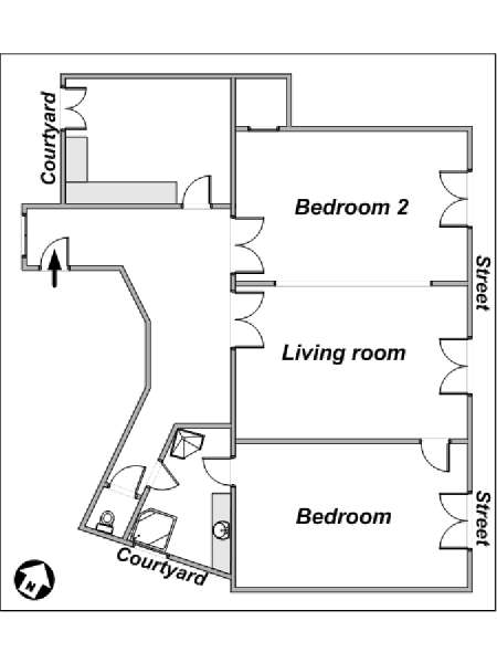 Paris 2 Bedroom accommodation - apartment layout  (PA-3348)