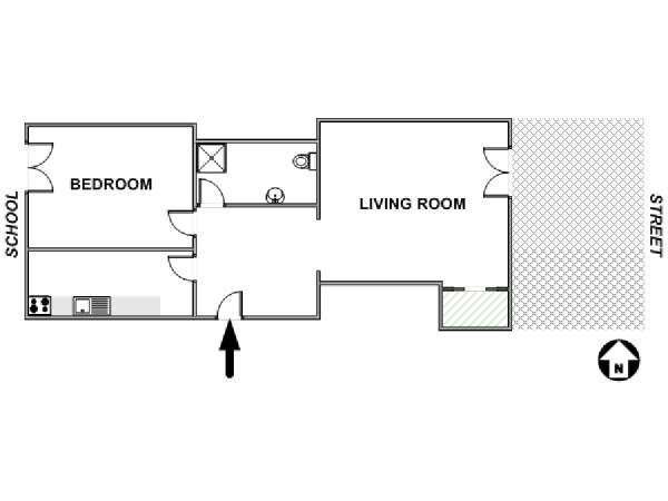 Paris 1 Bedroom accommodation - apartment layout  (PA-3384)