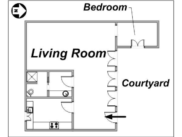 Paris 1 Bedroom apartment - apartment layout  (PA-3412)
