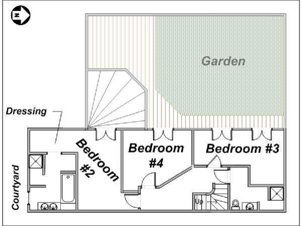 Paris T5 - Duplex appartement location vacances - plan schématique 2 (PA-3485)