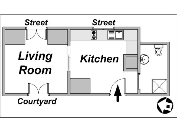 Paris Studio accommodation - apartment layout  (PA-3664)