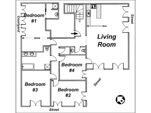 Paris 4 Bedroom accommodation - apartment layout 1 (PA-3745)
