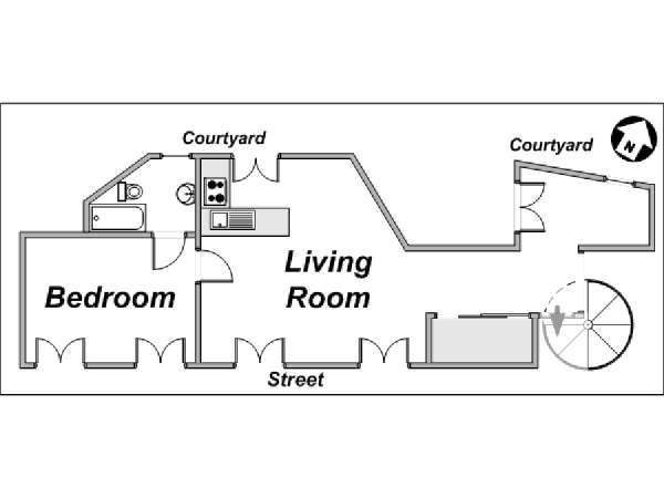 Paris 1 Bedroom accommodation - apartment layout  (PA-3780)