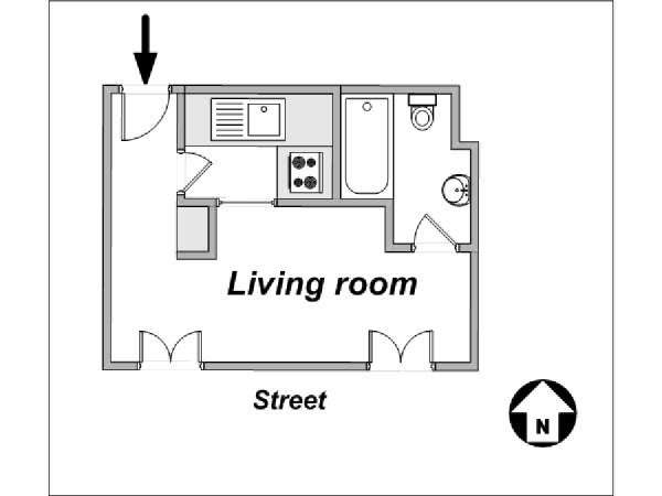 Paris Studio accommodation - apartment layout  (PA-3805)